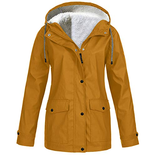 BUKINIE Damenjacke, Oversized Fleece, Lined Raincoat, wasserdicht, Trenchcoat Outdoor Warm Rain Jacke, Windbreaker Trenchcoat Gr. 4X-Large , kaki