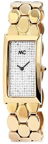 MC Timetrend Germany Damenuhr Weiß Goldfarbig Strass Analog Edelstahl Armbanduhr