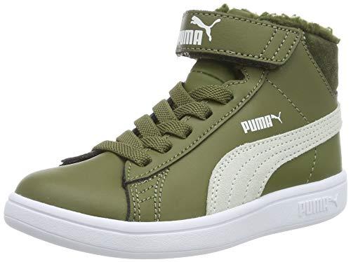 Puma Unisex-Kinder Smash V2 Mid L Fur V Ps Sneaker, Grün (Burnt Olive-Puma White 04), 29