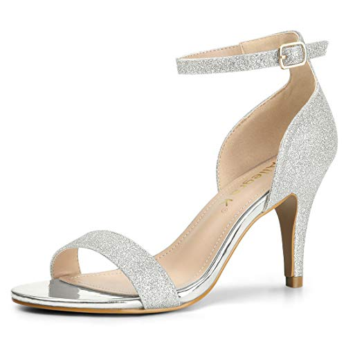 Allegra K Damen Peep Toe Metallic Glitzer Stiletto High Heels Sandalen Silber 36