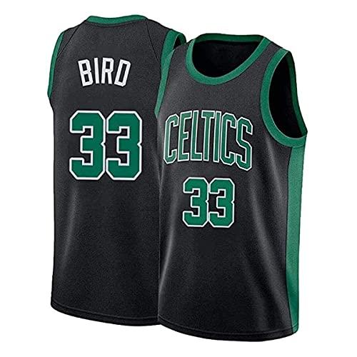 YMFZYM Retro Boston Celtics Uniforme da Basket # 33 Maglia da Uomo Larry Bird Sport Comoda Maglia da Basket Swingman in Rete Ricamata, Poliestere Nero,S
