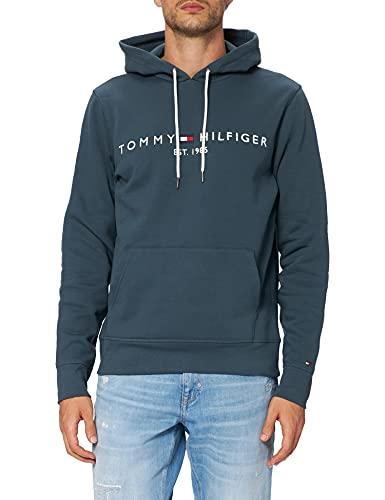 Tommy Hilfiger Tommy Logo Hoody Sudadera con Capucha, Azul (