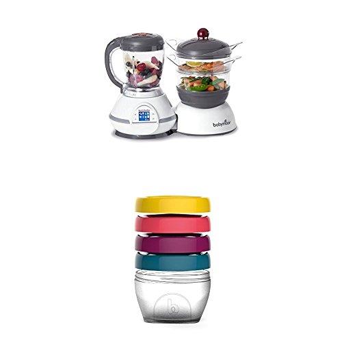 Babymoov Nutribaby Classic A001114 - Procesador de alimentos para bebés, color cereza + Babymoov Babybols A004307 - Pack de 4 cajas de conservación, tamaño 120 ml