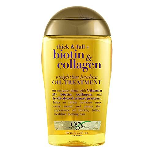 OGX Thick & Full Biotin & Collagen Weightless Healing Oil Treatment, 3.3 Fl Oz