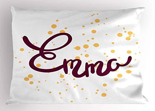 ABAKUHAUS Emma Siersloop voor kussen, Meisjesnaam Gebogen Font, standaard maat bedrukte kussensloop, 90 x 50 cm, Paars en Mosterd