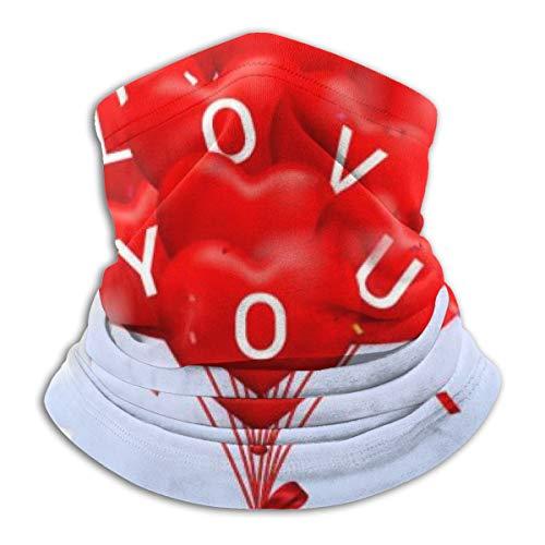 Uosliks Bufanda de Cuello Te Amo Feliz día de San Valentín Fondo Rojo 26cm X 30cm Diadema de pasamontañas de Invierno para Hombres y Mujeres