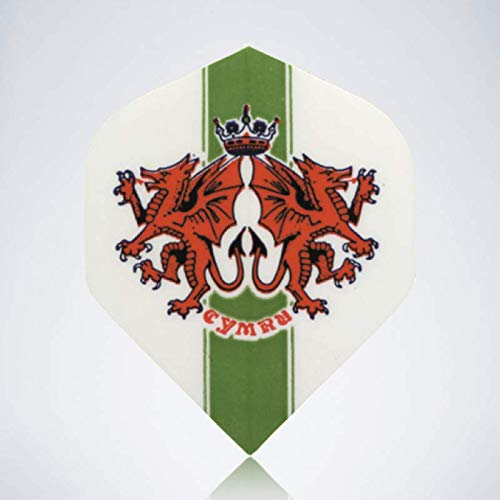 myDartpfeil Grüne Standard Dart Flights | Wales Flagge aus Kunststoff | 3er Flight Set | Dartpfeil Flyer