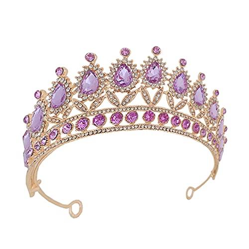 Minkissy Vintage Barroco Reina Coronas Púrpura Violeta Cristal Tiara Diamantes de Imitación...