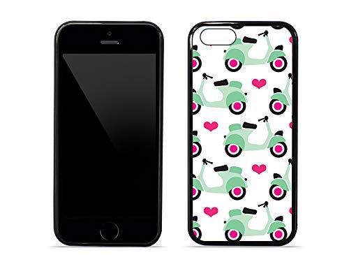 etuo Handyhülle für Apple iPhone 5 / 5S - Hülle Hybrid Fantastic - Pastell-Motorroller - Handyhülle Schutzhülle Etui Case Cover Tasche für Handy