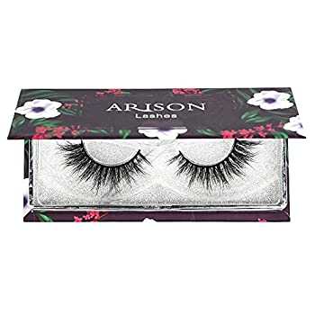Arison Cat Eye Lashes Mink Wispy Cosplay Lashes 3D Siberian Real Mink False Eyelashes Pack Fluffy Natural Look Bulk Thick Lashes Strips 1 Pair for Makeup