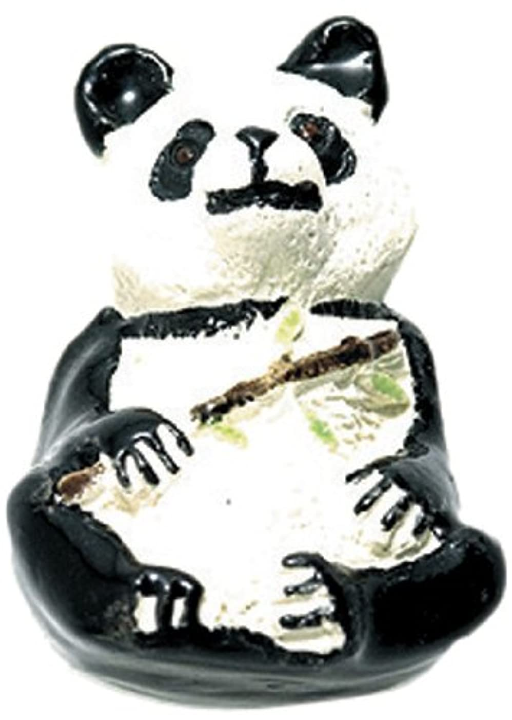 Shipwreck Beads 17 by 26mm Peruvian Hand Crafted Large Ceramic Panda Beads with Bamboo, Black, 3 Per Pack