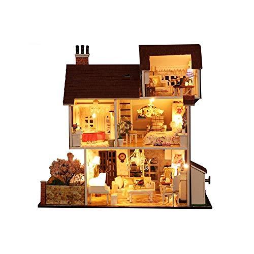 FELICIOO Handgemachte Musterhaus Kits, Blume Thema Urlaub Villa Puppenhaus mit Möbeln