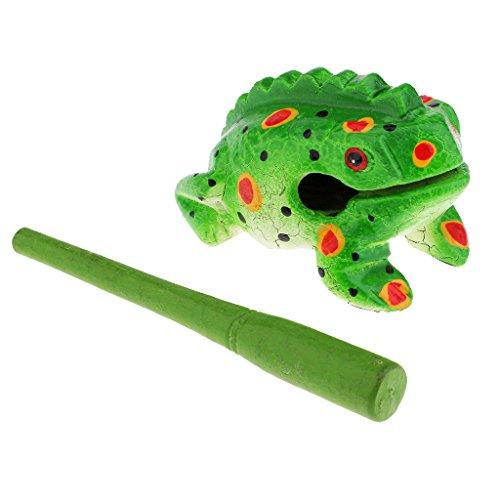 F Fityle Juguete de Rana de Madera Croando Ornamentos Meditación Relajación - 8cm Color Verde