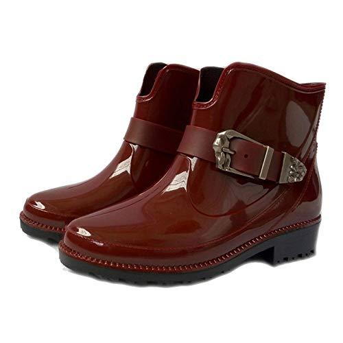 YJxiaobaozi Regenlaarzen dames wig waterdichte regenbroek rode ronde kop metalen gesp met schoenen vrouw regen water rubber laarzen gesp armband Botas