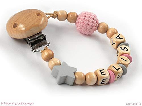 Schnullerkette mit Namen für Mädchen Stern Häkelperle - rosa grau natur Holz - geprägte Holzbuchstaben - Handarbeit