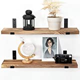 AZSKY Floating Shelves Rustic Wood Wall Mounted, Wall Shelves Decor Set of 2 for Bedroom, Living Room, Kitchen, Office,Bathroom, Laundry Room with Metal Floating Shelf Bracket 24IN