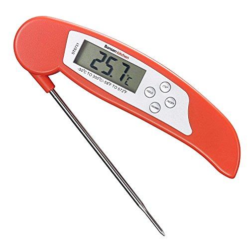 Termómetro de Cocina Digital Bonsenkitchen, Termómetro de Carne de lectura instantánea para asados, barbacoas y bebidas líquidas con calefacción, gran pantalla LCD digital, Rojo (ST8731)