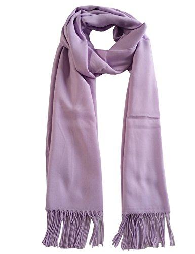 Leslii Damen-Schal langer Fransen-Schal einfarbig Uni Flieder Lavendel Pastell weicher Basic-Schal Made in Italy