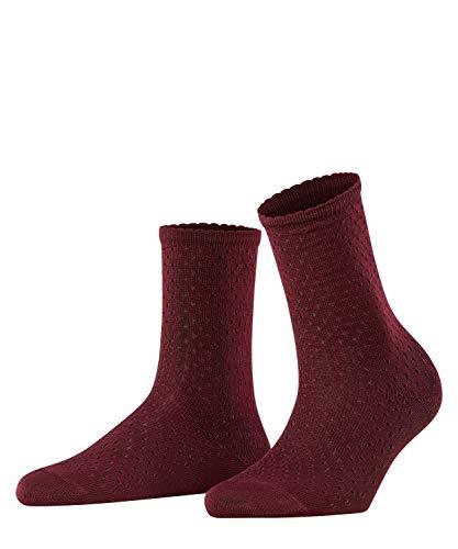 FALKE Damen Socken Pointelle, Baumwolle, 1 Paar, Rot (Barolo 8596), 35-38 (UK 2.5-5 Ι US 5-7.5)