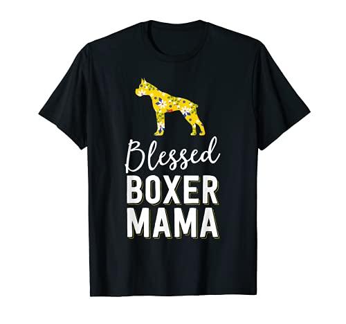 Camisas florales de la mamá del perro para las mujeres bendecido boxeador mamá Camiseta