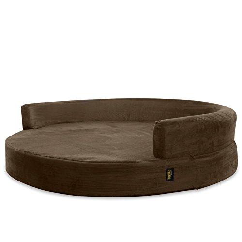 KOPEKS - Fodera di ricambio per divano rotondo, letto per cani, taglia XL, colore marrone