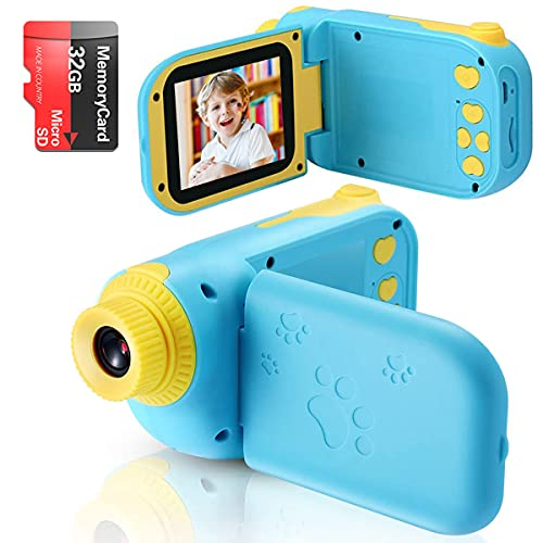 Kids Digital Video Camera Toys for 3-10 Years Old Girls 1080P 2.4 inch IPS Screen Camera for Age 3 4 5 6 7 8 9 Yeas Old Toddler Kids Girls Best Birthday Gift Toys with 32G SD Card(Blue)