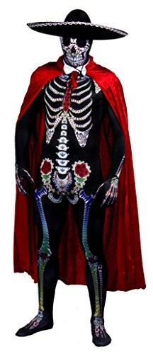 Disfraz de Calavera de azcar de da de los Muertos, Disfraz de Halloween, con Sombrero de Fieltro Negro + Lazo Blanco + Capa roja de Terciopelo de Color Rojo - Dia de los Muertos (XX-Grande)