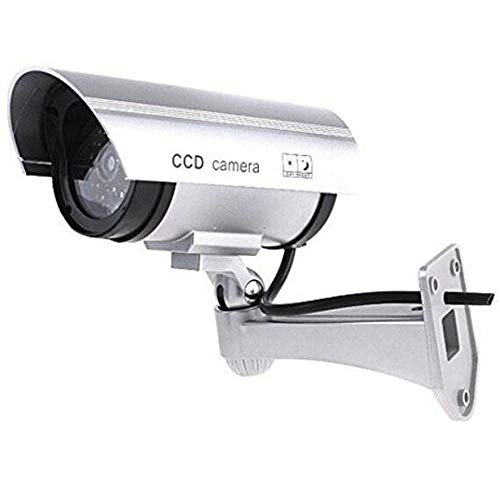 BW Outdoor Indoor Fake Dummy Imitation CCTV Security Camera W/Blinking Flashing Light Bullet Shape Silver, [Importado de Reino Unido]