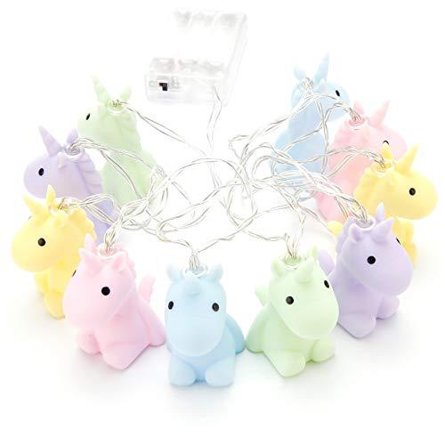 Guirnalda de luces de unicornio pastel, de plástico, funciona con pilas, en...