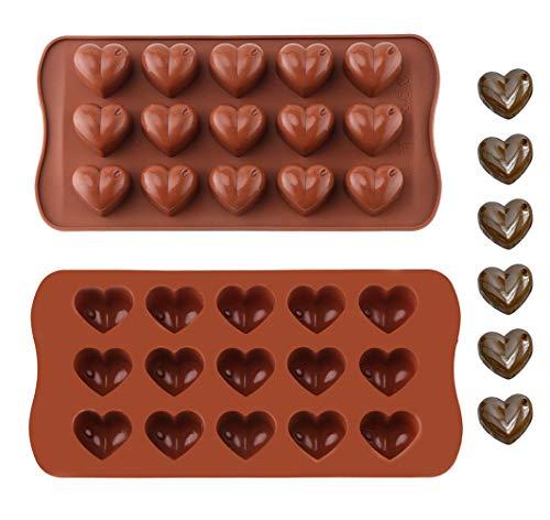 Moule à Chocolat en Silicone,2 pièce Antiadhésifs Moule pour Chocolats en Forme de Coeur Plateaux de Cuisson pour la Fête de Noël