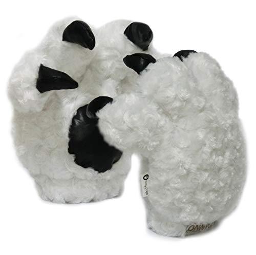Onmygogo Halloween Christmas Gloves, Fuzzy Bear Tiger Paw Gloves for Women Men Boys Girls Kids (White, One Average Size)