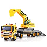 Friction Powered Flatbed Truck with Excavator Tractor - Push and Go Construction Toy for Boys and Girls with Lights and Sounds - Realistic 1:16 Scale Design - by ToyThrill
