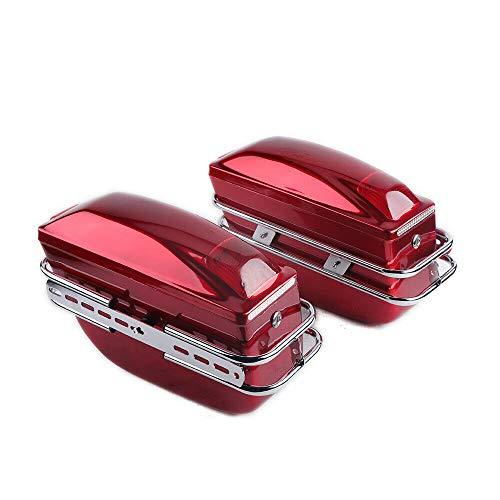 WUPYI2018 Motorrad Seitenkoffer 2 Stück,Aus ABS-Kunststoff,Hartschalenkoffer,42 * 15.5 * 26.5cm (Rot)