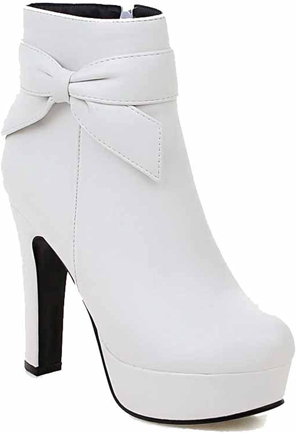 WeenFashion Women's Closed Round Toe Low-top High Heels Solid PU Boots
