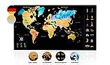Inventy® Weltkarte zum Rubbeln in Wasserfarben Design - Rubbel Weltkarte in Deutsch (43,5 x 80 cm) inkl. Geschenkverpackung - Landkarte zum Rubbeln in Gold/Schwarz