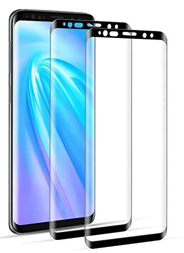 DOSNTO Protector Pantalla Completa 3D Samsung Galaxy S8 Plus Cristal Templado, 2 Pack, Caso Amistoso, De Punta a Punta, Sin Burbujas, Anti-Scratch, Sensible al Tacto, Ultra HD