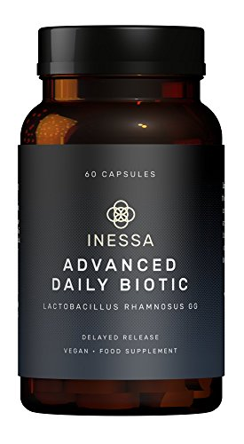 Inessa Advanced Daily Biotic, Probiotics Lactobacillus Rhamnosus (LGG), Powerful Digestive Support Probiotics with 10 Billion CFU, Globally Superior Strain, 60 Vegan Capsules for Men and Women