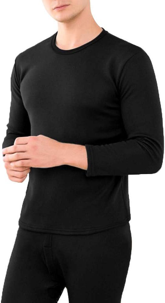 2Pcs Unisex Warm Fleece Lined Thermal Underwear Set for Men Women Winter Warm Top Pants Sleepwear Set
