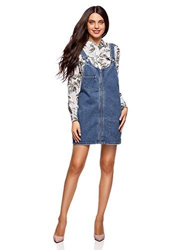 oodji Ultra Damen Jeans-Latzkleid mit Reißverschluss, Blau, DE 40 / EU 42 / L
