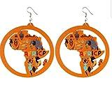 Colore arancione africano patrimonio stampato mappa orecchini/capelli naturali/donna afroamericana orecchino/gioielli di legno