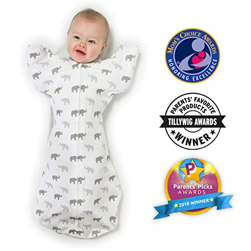Amazing Baby von SwaddleDesigns, Übergangs-PuckSack mit nach oben gerichteten Ärmeln, Swaddle Sack with Arms Up, Sterling, Winzige Elefanten, Mittel, 3-6 Monate