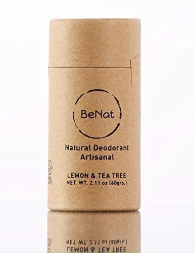 BeNat. Artisanal Natural Deodorant. ZERO-WASTE. Lemon & Tea Tree. Made with fewer, all-natural ingredients. Free of Aluminum, toxins and all harmful chemicals. Cruelty-free and EARTH-FRIENDLY.