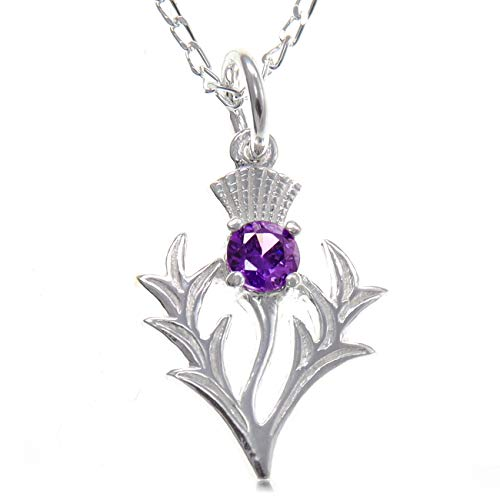 Sterling Silver Amethyst Thistle Pendant - Scottish Necklace with 18' Chain and jewellery gift box