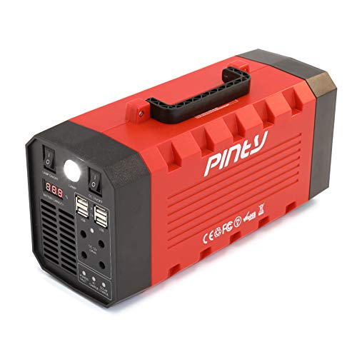 Pinty Portable Uninterrupted Power Supply 300W, UPS Battery Backup, Rechargeable Generator Power Source with AC Inverter, USB, DC 12V Outputs for Outdoors and Indoors (300W, Red)