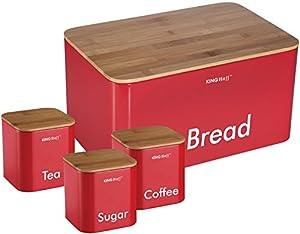 Kinghoff Lot de 4 boîtes de conservation pour pain/thé/café/sucre - idéal pour la cuisine