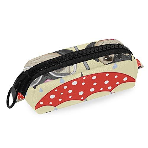 DEZIRO Make-up Bag Reizen Cosmetische Tas Twee Honden met Paraplu voor Vrouwen Meisjes Make-up Borstels Tas