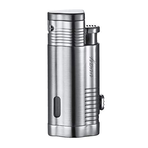 VVAY Jet Flamme Sturmfeuerzeug Zigarren Feuerzeug, Butan Gas nachfüllbar, Turbo 3 Flammen Einstellbare Zigarette Feuerzeug(Silber, Verkauft ohne Gas)