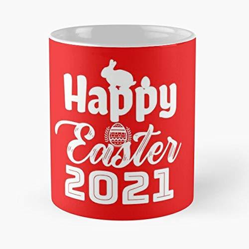 Taza de café de cerámica con texto en inglés 'Happy Easter 2021 tía cuarentena', color negro, bendecido, 315 ml, con texto en inglés 'Eat Food Bite John Best Taza de café de cerámica de 325 ml