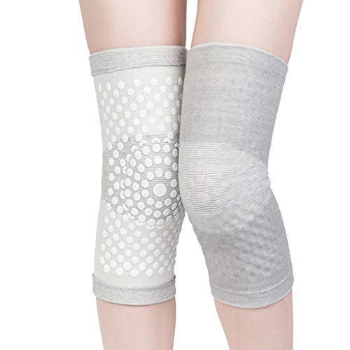 WONKIIN 1 Pair Tourmaline Self Heating Knee Pads,Magnetic Therapy Knee Support Heating Belt Heating for for Arthritis Joint Pain Relief and Injury Recovery,Grey (XL)