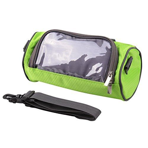 Sunnior, borsa per bicicletta da manubrio con finestra per telefono touchscreen, per accessori personali, impermeabile, Green